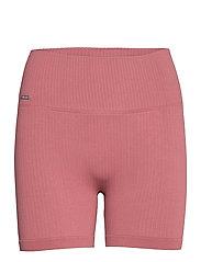 Pink Beat Ribbed Midi Biker Shorts - PINK