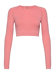 Bubblegum Washed Ribbed Crop Long Sleeve - BUBBLEGUM