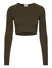 Khaki Ribbed Seamless Crop Long Sleeve - KHAKI