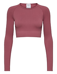 Pink Beat Ribbed Seamless Crop Long Sleeve - PINK