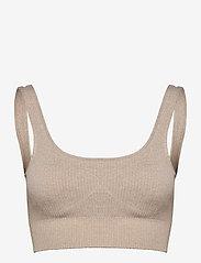 AIM'N - Beige Ribbed Seamless Bra - sport bras: medium - beige - 0