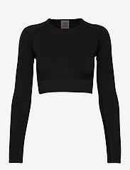 AIM'N - Black Ribbed Seamless Crop Long Sleeve - langærmede toppe - black - 1
