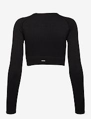 AIM'N - Black Ribbed Seamless Crop Long Sleeve - langærmede toppe - black - 2