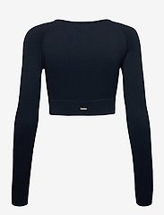 AIM'N - Navy Ribbed Crop Long Sleeve - langærmede toppe - navy - 2