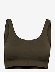 AIM'N - Khaki Ribbed Seamless Bra - sport bras: medium - khaki - 1
