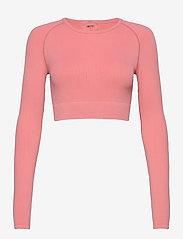 AIM'N - Bubblegum Washed Ribbed Crop Long Sleeve - topjes met lange mouwen - bubblegum - 1