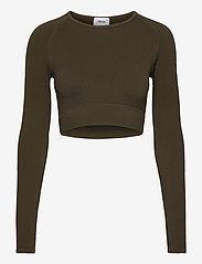 AIM'N - Khaki Ribbed Seamless Crop Long Sleeve - langærmede toppe - khaki - 1