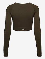 AIM'N - Khaki Ribbed Seamless Crop Long Sleeve - langærmede toppe - khaki - 2