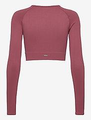 AIM'N - Pink Beat Ribbed Seamless Crop Long Sleeve - langærmede toppe - pink - 2