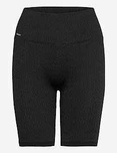 Black Ribbed Seamless Biker Shorts - träningsshorts - black