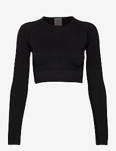 Black Ribbed Seamless Crop Long Sleeve - któtkie bluzki - black