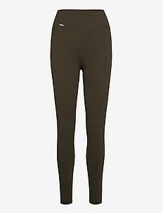 Khaki Ribbed Seamless Tights - löpnings- och träningstights - khaki