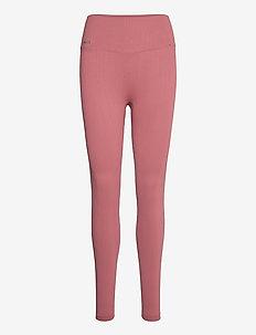 Pink Beat Ribbed Seamless Tights - sportleggings - pink