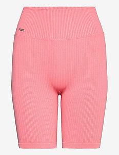 Bubblegum Washed Ribbed Biker Shorts - träningsshorts - bubblegum