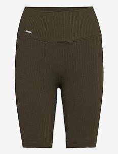 Khaki Ribbed Seamless Biker Shorts - träningsshorts - khaki