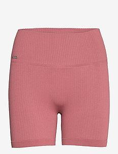 Pink Beat Ribbed Midi Biker Shorts - treenishortsit - pink