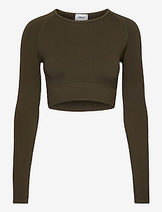 Khaki Ribbed Seamless Crop Long Sleeve - crop tops - khaki