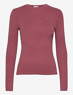 Pink Beat Ribbed Seamless Zip Long Sleeve - pitkähihaiset topit - pink