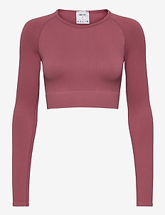Pink Beat Ribbed Seamless Crop Long Sleeve - crop tops - pink