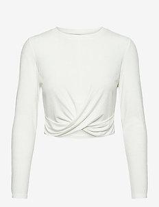 White Rib Knot Top - bluzki z długim rękawem - white
