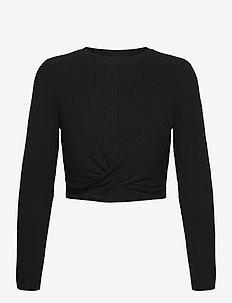 Black Rib Knot Top - topjes met lange mouwen - black