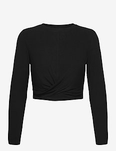 Black Rib Knot Top - langermede topper - black