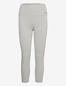 Light Grey Melange Ribbed Seamless Tights 7/8 - löpnings- och träningstights - light grey