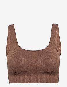Bronze Ribbed Seamless Bra - soft bras - bronze