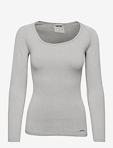 Light Grey Melange Ribbed Seamless Long Sleeve - bluzki z długim rękawem - light grey