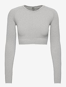 Light Grey Melange Ribbed Crop Long Sleeve - crop tops - light grey