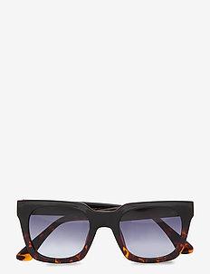 Nancy - d-vormige zonnebril - black demi tortoise