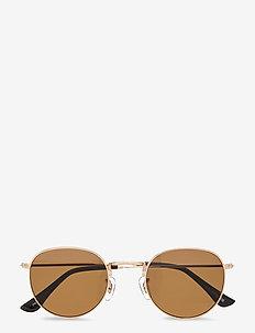 Hello - round frame - gold/brown