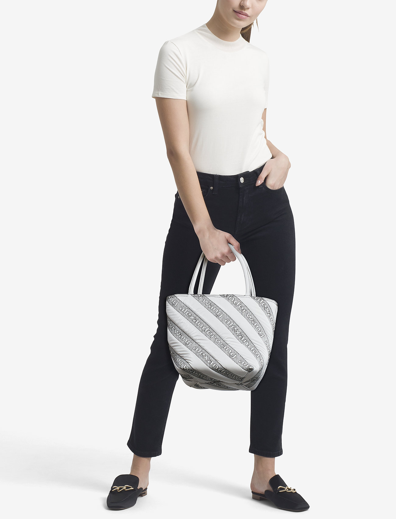 Alexander Wang - ROXY SOFT SMALL TOTE WHITE LOGO QUILTED NYLON - fashion shoppers - white