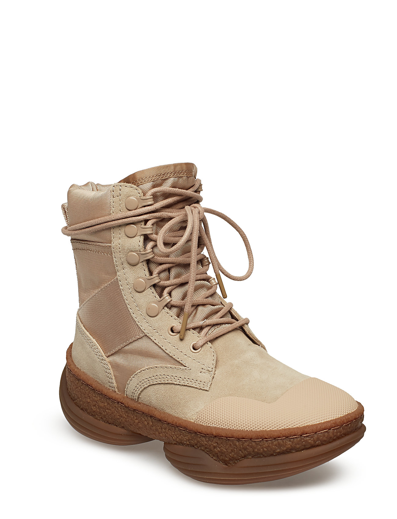 Image of A1 Combat Boot Sand Suede/Canvas Shoes Boots Ankle Boots Ankle Boot - Flat Brun Alexander Wang (3455949745)