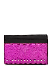 DIME CARD CASE FUCHSIA HAIRCALF/BLK SMOOTH/IR - BLACK