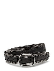 ZIPPER TEETH EDGE BELT - BLACK