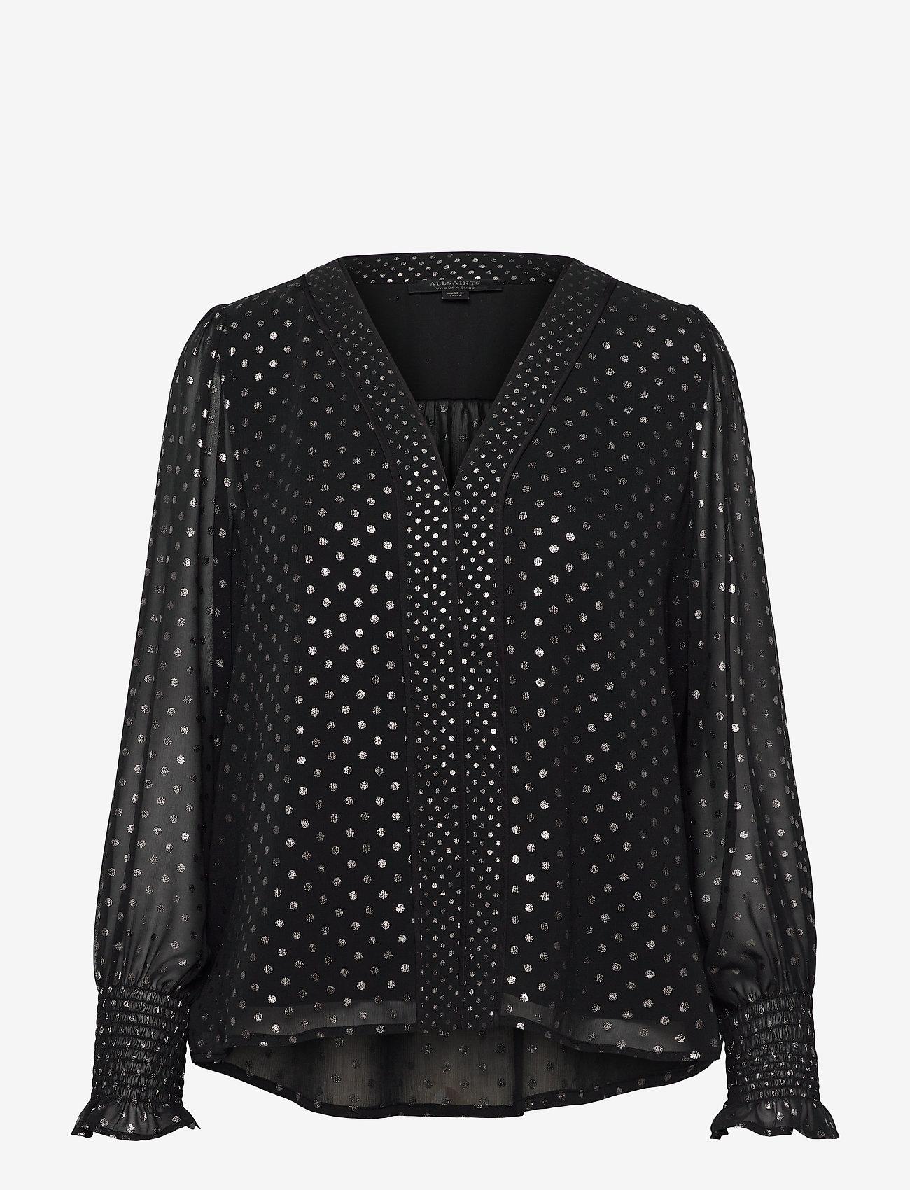 AllSaints - TENAYA DOT TOP - blouses à manches longues - black - 0