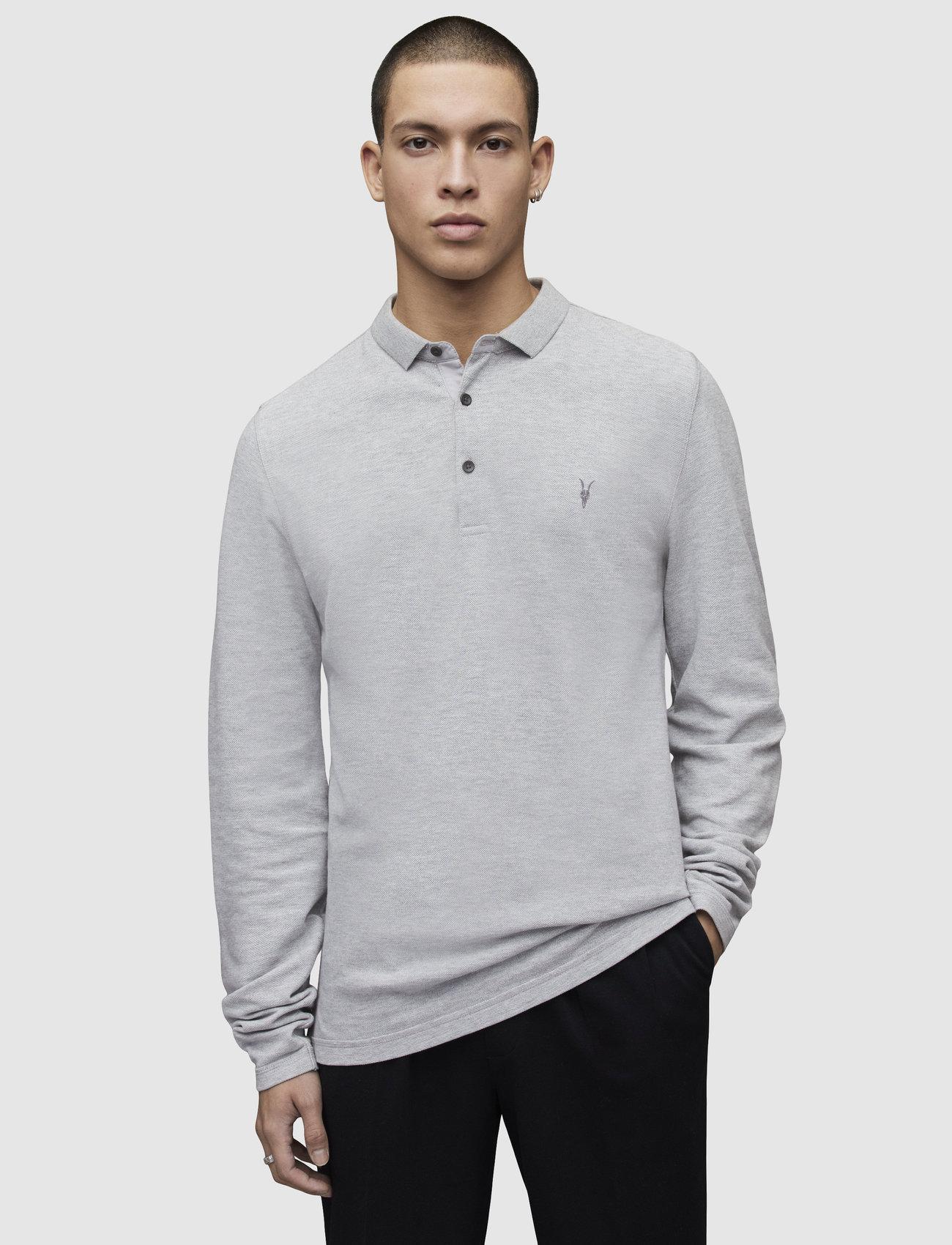 AllSaints REFORM LS POLO - T-skjorter GREY MARL - Menn Klær