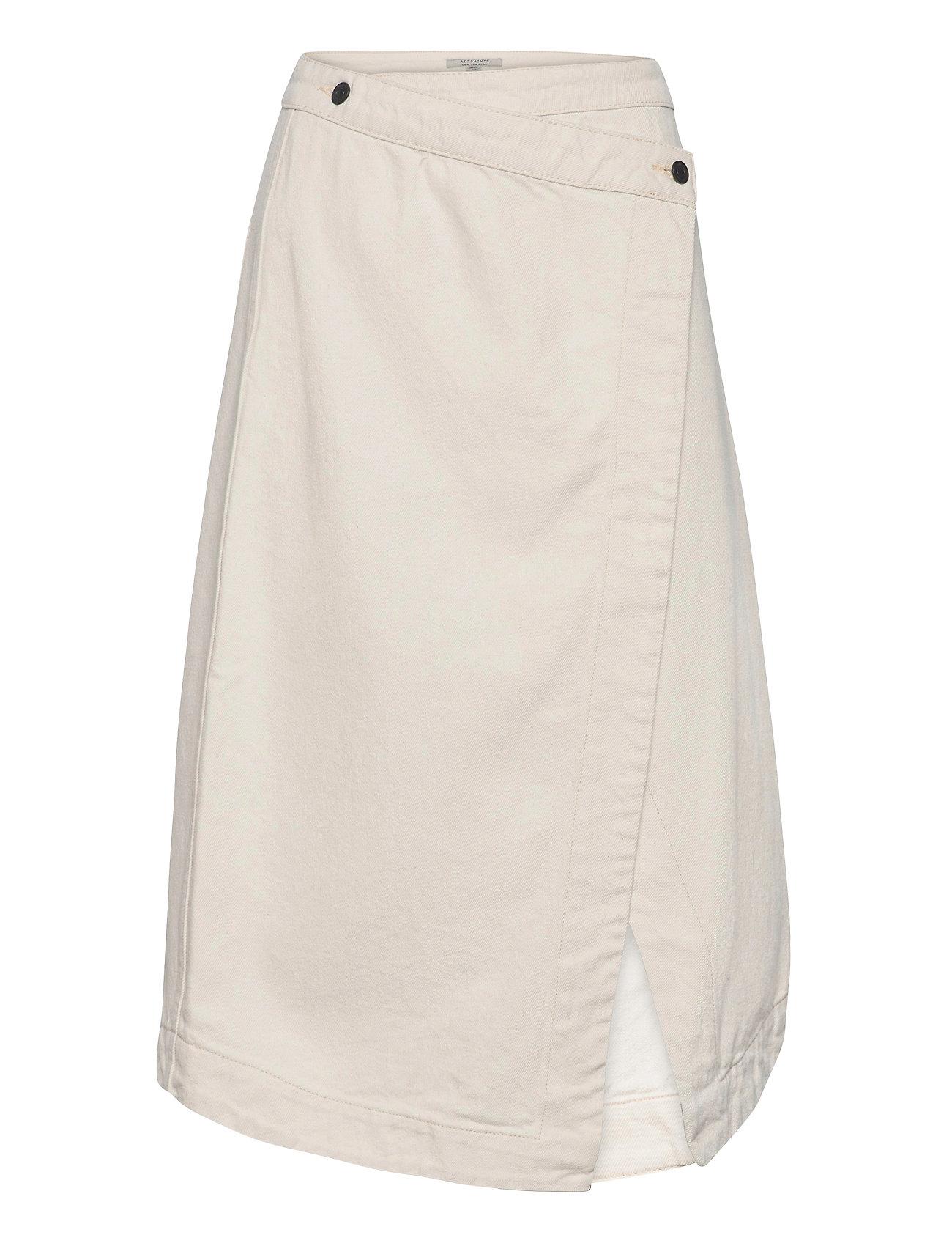 Kenya Denim Skirt Knælang Nederdel Creme AllSaints