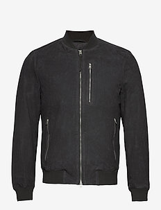 KEMBLE SUEDE BOMBER - leather jackets - soot grey