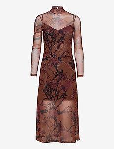 HANNA NOLINA DRESS - party dresses - cinnamon brown