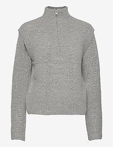 LETTA ZIP JUMPER - polotröjor - pale grey marl