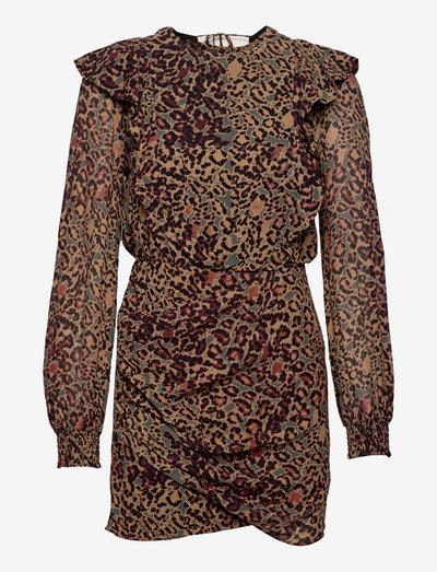 ELODIE HALFTONE DRES - korte jurken - spiced honey brown