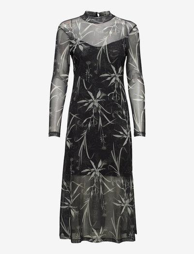 HANNA RUTLAND DRESS - midi dresses - black