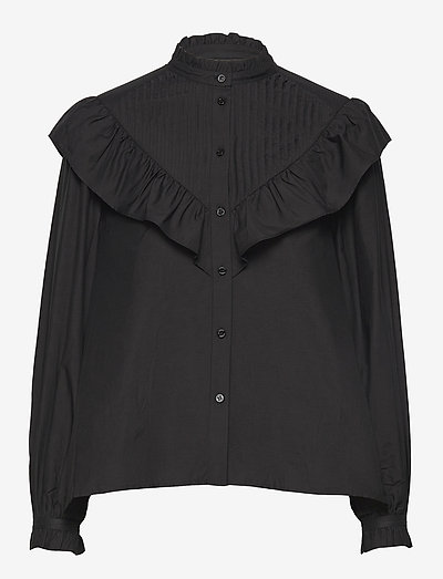 FIALA FRILL SHIRT - langärmlige blusen - black
