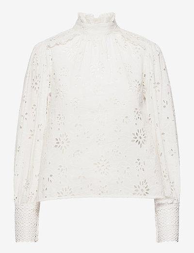 ANNASIA BRODERIE TOP - langärmlige blusen - chalk white