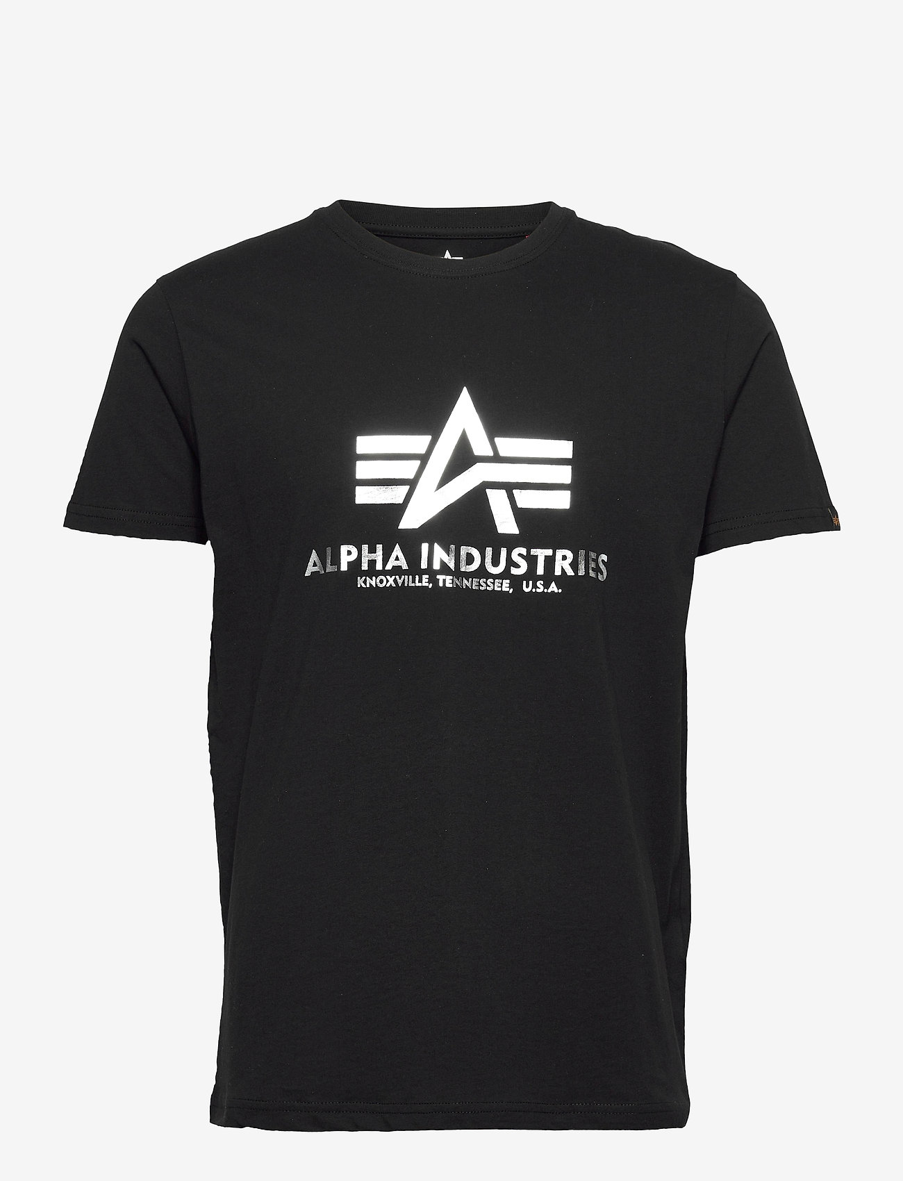 Alpha Industries - Basic T-Shirt Foil Print - lyhythihaiset - black/metalsilver - 0