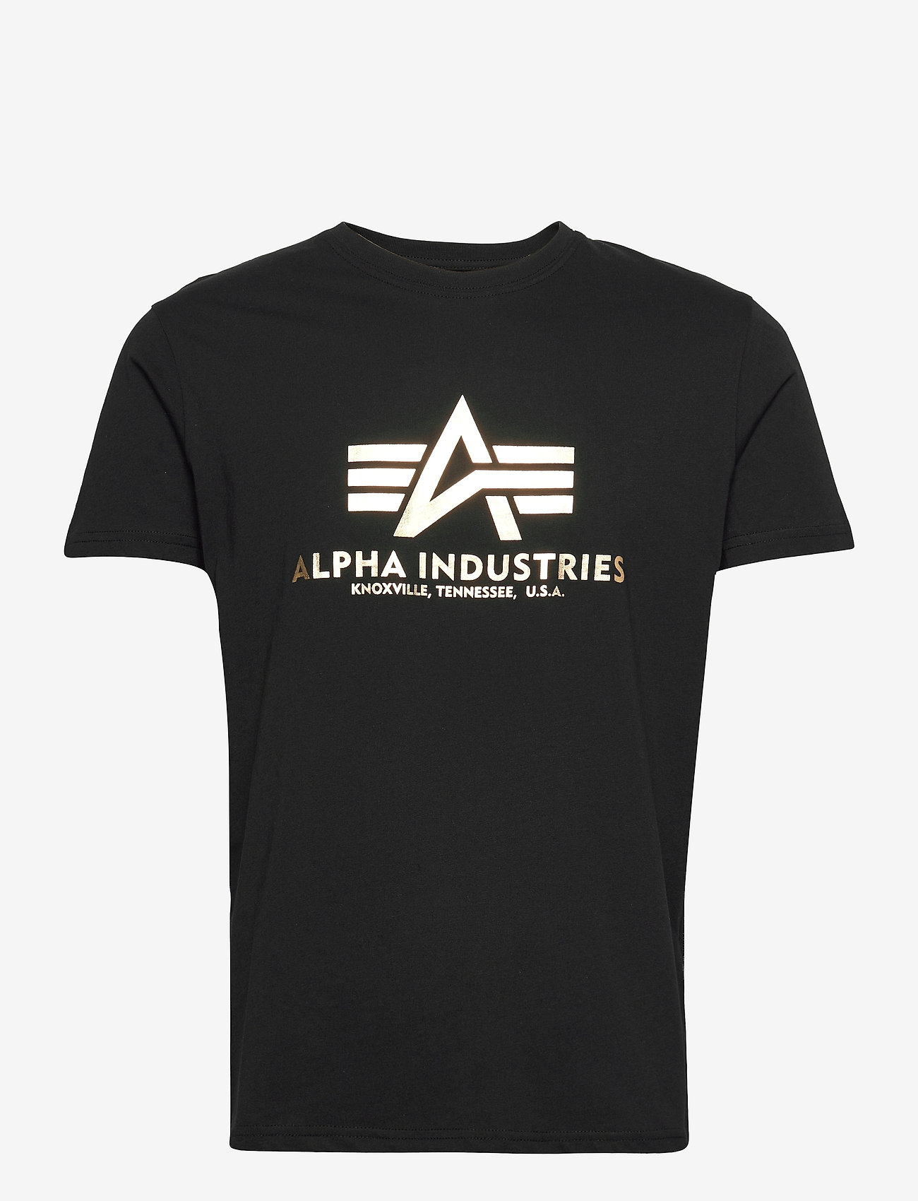 Alpha Industries - Basic T-Shirt Foil Print - lyhythihaiset - black/yellow gold - 0