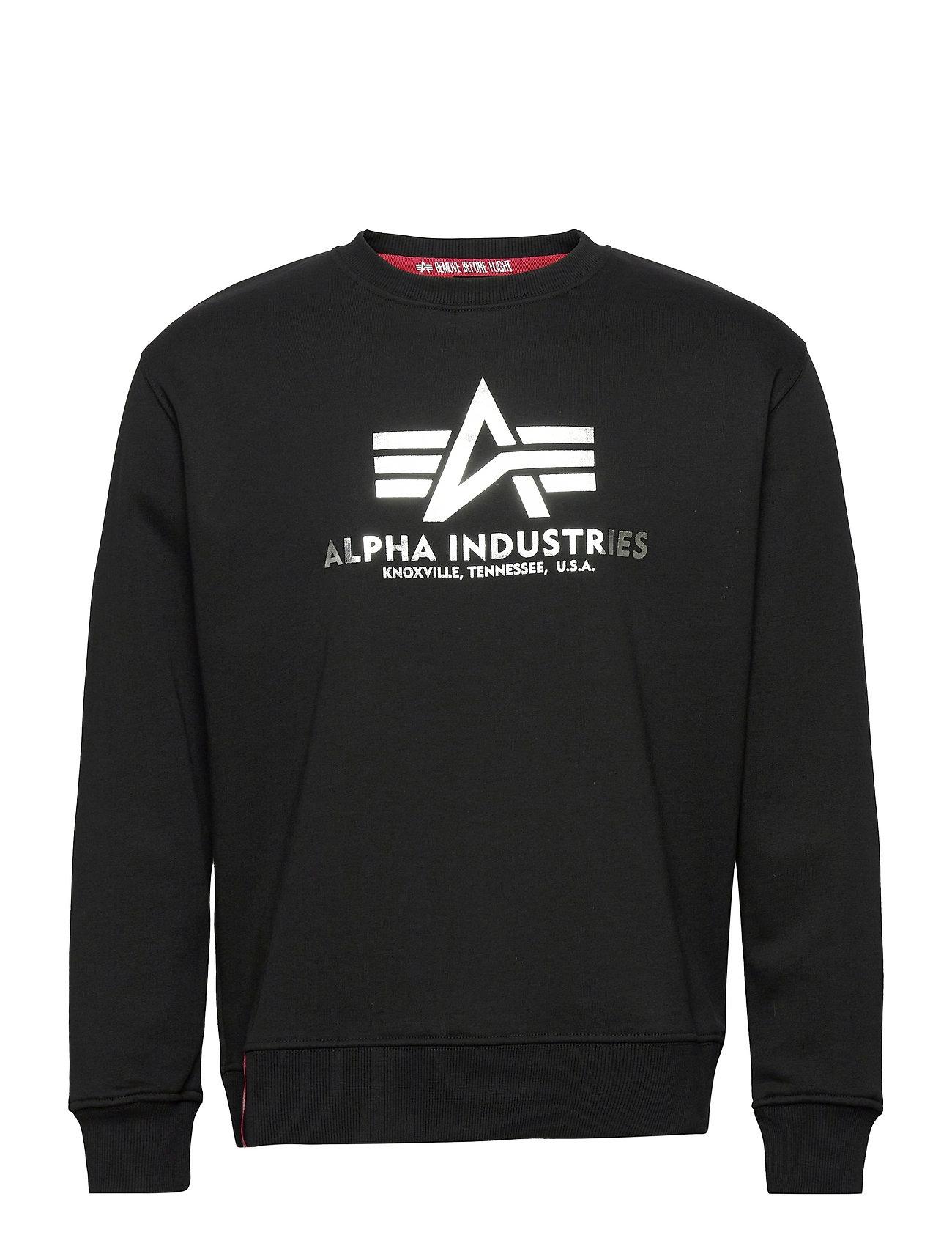 Basic Sweater Foil Print Sweatshirt Trøje Sort Alpha Industries