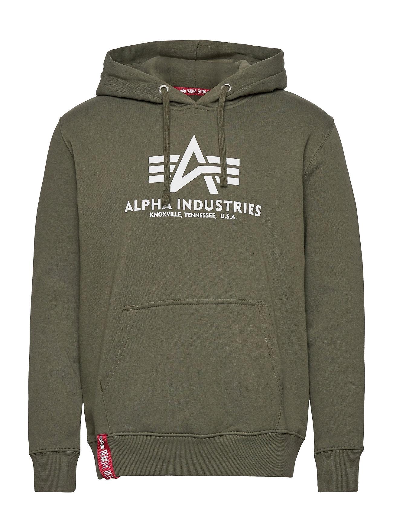 Basic Hoody Hoodie Trøje Grøn Alpha Industries